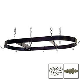 "Hanging Pot Rack, Oval With 12 Hooks & Chain 36"" (Gun Metal) by"