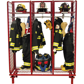 """Red Rack™ Freestanding Gear Storage Rack Locker, Single Sided, Three 20"""" Sections, Red"""