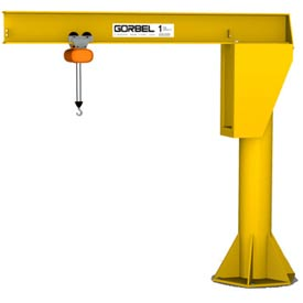 Gorbel® HD Free Standing Jib Crane, 8' Span & 9' Height Under Boom, 2000 Lb Capacity