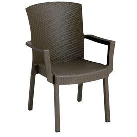 Grosfillex Havana Classic Outdoor Armchair Espresso (Sold in Pk. Count 12) Package Count... by