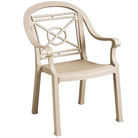 Grosfillex® Victoria Dining Outdoor Armchair - Sandstone (Sold in Pk. Qty 12) - Pkg Qty 12