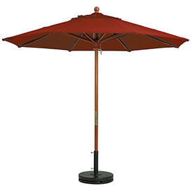 Grosfillex 9' Wooden Market Outdoor Umbrella Terra Cotta by