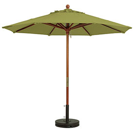 Grosfillex 7' Wooden Market Outdoor Umbrella Pesto by