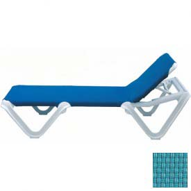 Grosfillex® Nautical Sling Chaise - Turquoise Sling / White Frame (Sold in Pk. Qty 12) - Pkg Qty 12