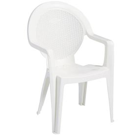 Grosfillex® Trinidad Stacking Outdoor Armchair - White (Sold in Pk. Qty 4) - Pkg Qty 4