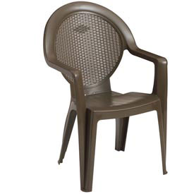 Grosfillex® Trinidad Stacking Outdoor Armchair - Bronze Mist (Sold in Pk. Qty 4) - Pkg Qty 4