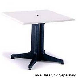 """Grosfillex® 36"""" Square Outdoor Table Top Only with Umbrella Hole - White"""