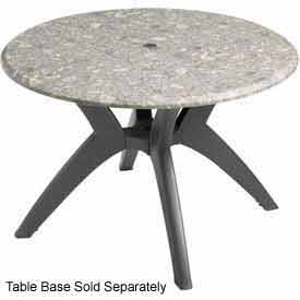 "Grosfillex® 42"" Round Outdoor Table Top Only with Umbrella Hole - Tokyo Stone"