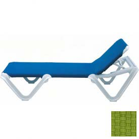 Grosfillex® Nautical Sling Chaise - Fern Green Sling / White Frame (Sold in Pk. Qty 2) - Pkg Qty 2