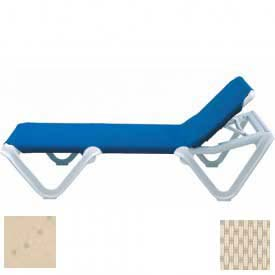 Grosfillex® Nautical Sling Chaise - Natural Sling / Sandstone Frame (Sold in Pk. Qty 2) - Pkg Qty 2