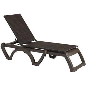 Grosfillex® Java All-Weather Wicker Chaise - Espresso (Sold in Pk. Qty 2) - Pkg Qty 2