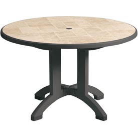 Grosfillex® Siena 38 Round Folding Outdoor Table - Charcoal