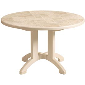 Grosfillex® Siena 38 Round Folding Outdoor Table - Sandstone
