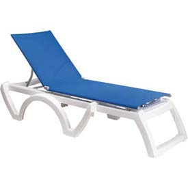 Grosfillex® Calypso Sling Chaise - Blue Sling / White Frame (Sold in Pk. Qty 2) - Pkg Qty 2