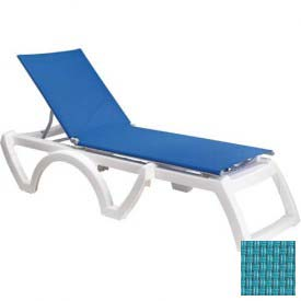 Grosfillex® Calypso Sling Chaise - Turquoise Sling / White Frame (Sold in Pk. Qty 2) - Pkg Qty 2