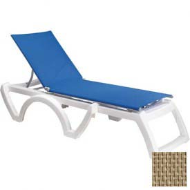 Grosfillex® Calypso Sling Chaise - Beige Sling / White Frame (Sold in Pk. Qty 2) - Pkg Qty 2