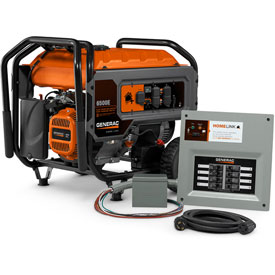 Generac 6865, 6000 Watt Generator, Gas Engine, Recoil/Electric Start, With Manual Transfer Switch by