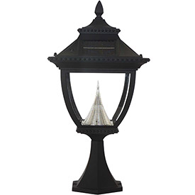 Click here to buy Gama Sonic 104011 Pagoda Solar LED Outdoor Post Light, Pier Base, Black.