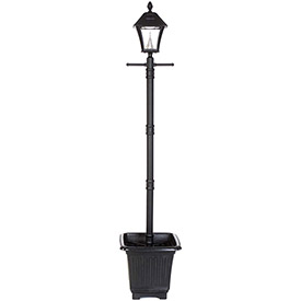 Click here to buy Gama Sonic 106001 Baytown Solar Lamp Post, Single Lamp, Black, Planter Base.