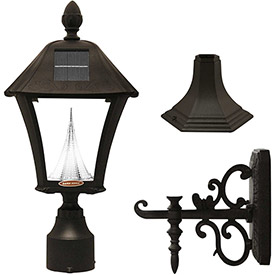 Click here to buy Gama Sonic 106033 Baytown Solar LED Outdoor Light, Post/Wall Mount, Black.