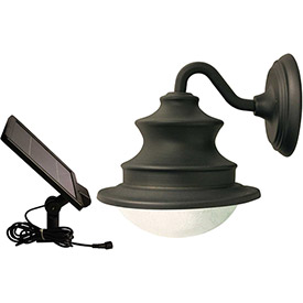 Click here to buy Gama Sonic 12201 Barn Solar LED Outdoor Wall Light, Brown.