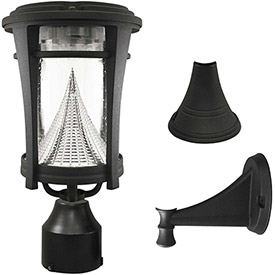 Gama Sonic 124033 Aurora Solar LED Outdoor Light, Post/Wall Mount, Black by
