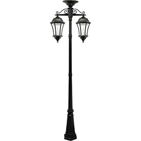 Gama Sonic 94C02 Victorian Solar Lamp Post, Double Downward-Hanging Lamps, Black by