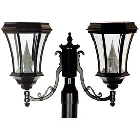 """Gama Sonic GS-94F2 Victorian Solar Lamp - Double Lamp - 3"""" Fitter Mount - Black"""