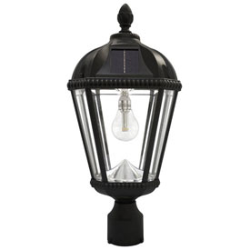 Gama Sonic GS-98F-B Royal Solar LED Outdoor Post Light - 3-Inch-Diameter Mount - Black