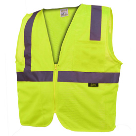 GSS Safety 1001 Standard Class 2 Mesh Zipper Safety Vest, Lime, Medium by