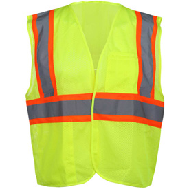 GSS Safety 1003 Standard Class 2 Mesh Hook & Loop Safety Vest, Lime, Medium by