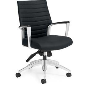 Global™ Ribbed Back Office Chair - Vinyl - Mid Back - Black - Accord Series