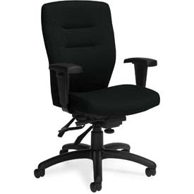 Global™ Synopsis Medium Back Multi-Tilter Chair, Black Fabric Upholstery