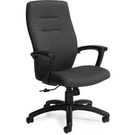 Global™ Synopsis High Back Chair, Black Fabric Upholstery