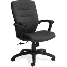 Global™ Synopsis Medium Back Chair, Black Fabric Upholstery
