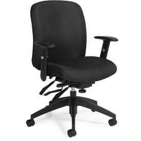 Global™ Office Task Chair - Fabric - Mid Back - Black - Truform Series