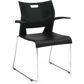 Global™ Molded Stacking Chair w/ Arms and Sled Base - Plastic - Black - Duet Series