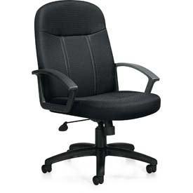Offices To Go™ Managerial Tilter Chair W/Arms, Black Fabric Upholstery