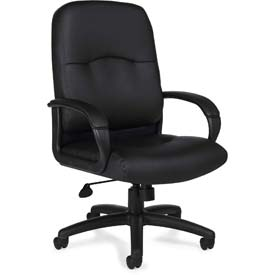 Offices To Go™ Office Chair with Arms - Luxhide - Black