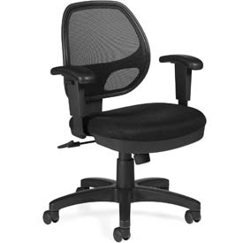 Offices To Go™ Mesh Back Task Chair with Arms - Fabric - Black