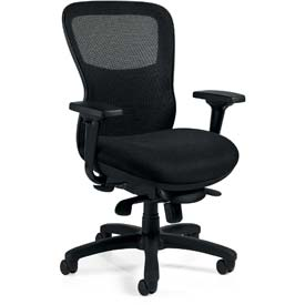 Offices To Go™ Mesh Back Executive Chair -Fabric - Black
