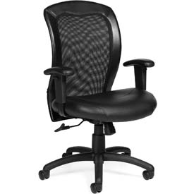 Offices To Go™ Mesh Back Ergonomic Chair - Luxhide- Black