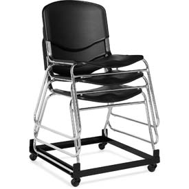 Offices To Go™ Armless Stack Chair, Black Plastic Upholstery