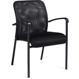 Offices To Go™ Mesh Back Guest Chair with Arms - Fabric - Black