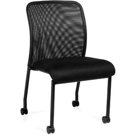 Offices To Go™ Armless Mesh Back Guest Chair with Casters - Fabric - Black