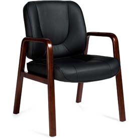 Offices To Go™ Guest Chair W/Wood Accents - Synthetic Leather - Black