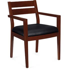 Offices To Go™ Wood Guest Chair, Black Fabric Upholstery