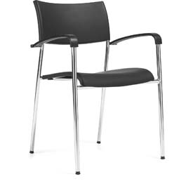 Offices To Go™ Stack Chair, Black Plastic Upholstery