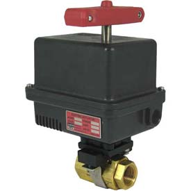 Gemini Valve® Brass Barstock Ball Valve W/600 Series 24DC Electric Actuator, 1-1/4""