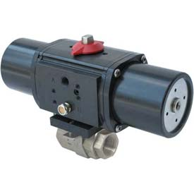 Gemini Valve® S/S Ball Valve W/500 Series Spring-Return Pneumatic Actuator, 1-1/4""